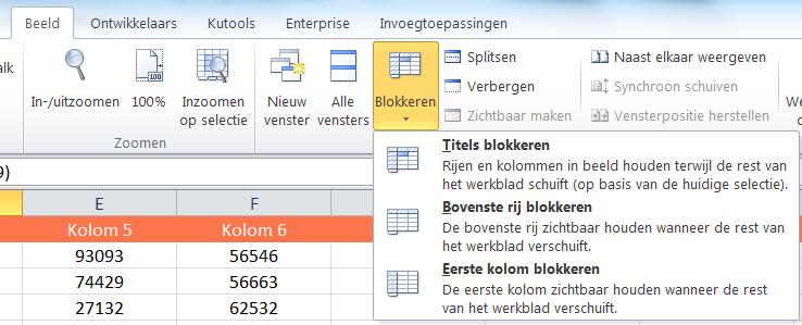 Titels Blokkeren Excel